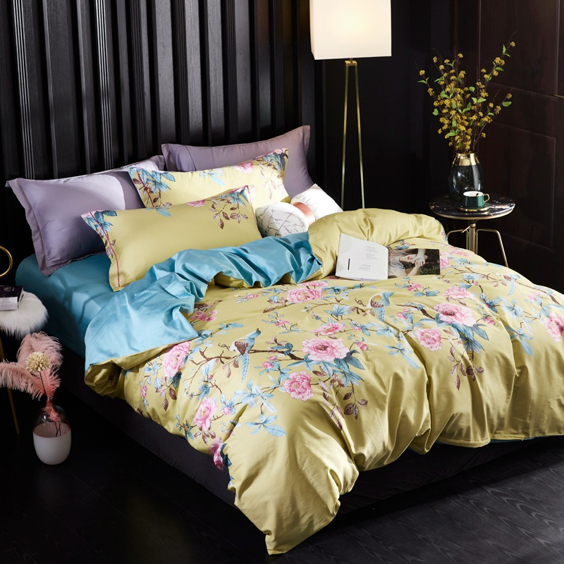 TUTUBIRD Blue leaf print bedding set European Satin clothes 100% Egyptian cotton pastoral bed sheet linen duvet cover 4pcs|Bedding Sets|Home & Garden - title=