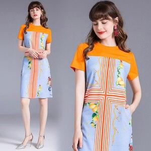 HAYBLST Vestido Da Marca Mulheres Novos Vestidos de Verão de Mangas Curtas Plus Size Roupas Vestidos de Roupas de Alta Qualidade em Estilo Europeu de Impressão