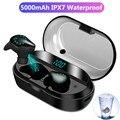 TWS Bluetooth наушники  беспроводные наушники IPX7  водонепроницаемые наушники для игр  Спортивная гарнитура  светодиодный дисплей  5000 мА/ч  внешний...