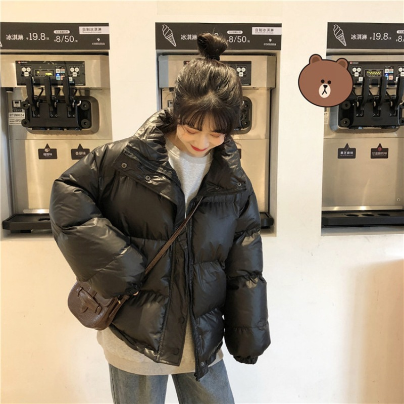 Bright Colors Winter Jacket Women Parka Warm Thick Solid Short Style Cotton Padded Parkas Coat Loose Stand Collar Outwear - 4