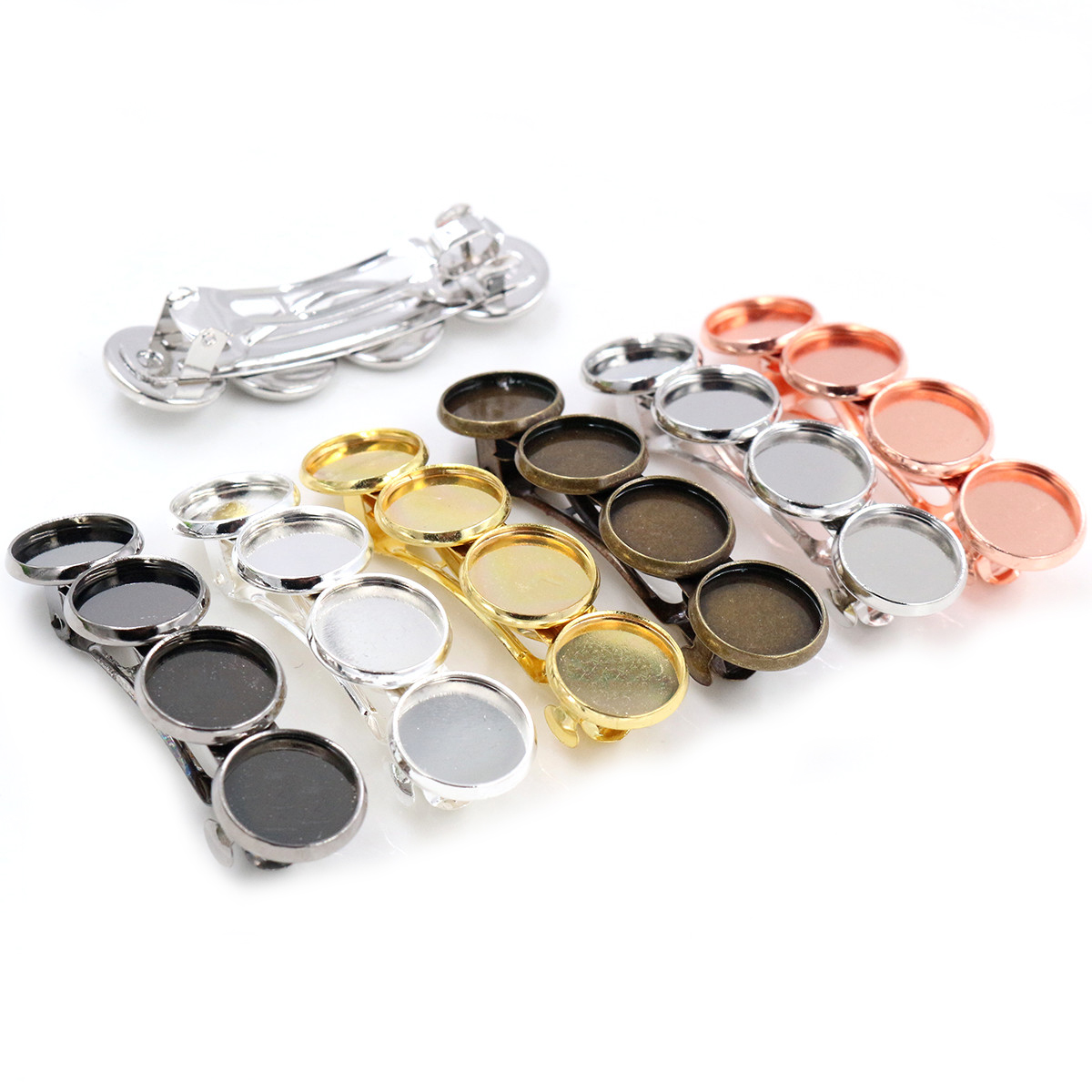 5pcs 12mm With 4 Cameo High Quality Bronze Silver Plated 6 Colors Copper Material Hairpin Hair Clips Base Setting Cabochon Cameo