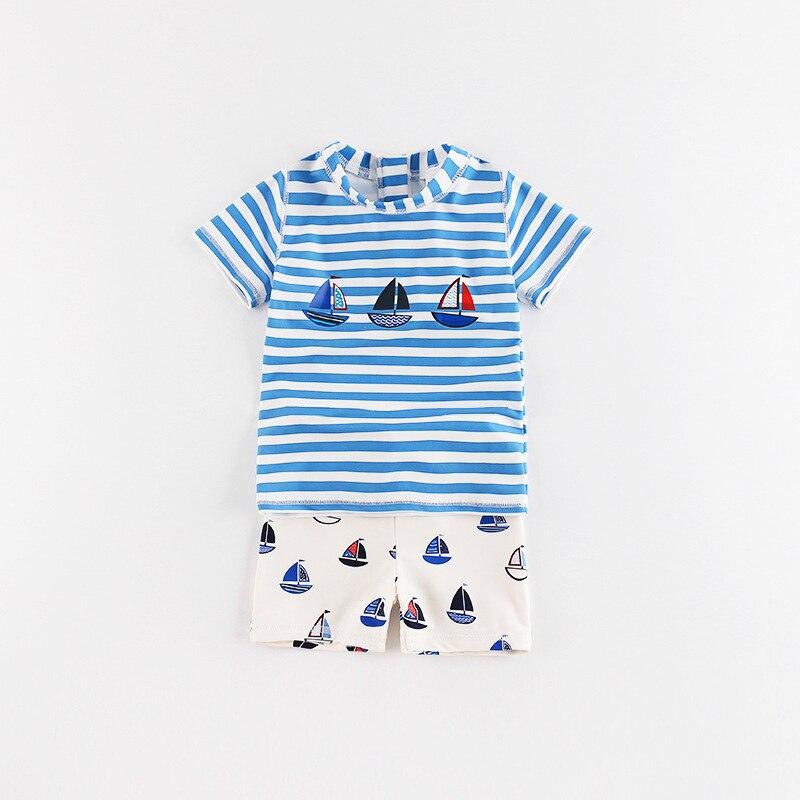 Momasong New Style KID'S Swimwear Sailboat Stripes Split Type BOY'S Swimsuit Sun-resistant