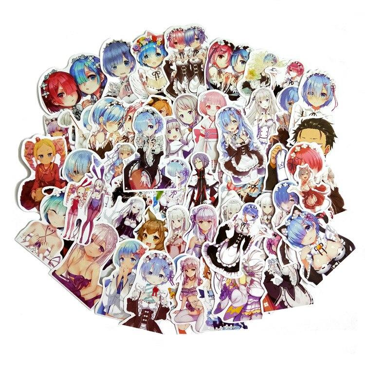 50 шт./лот милые аниме наклейки «Re:Life in a другой мир от нуля», игрушки для девочек, Мультяшные сувенирные наклейки из фильма Рем рам