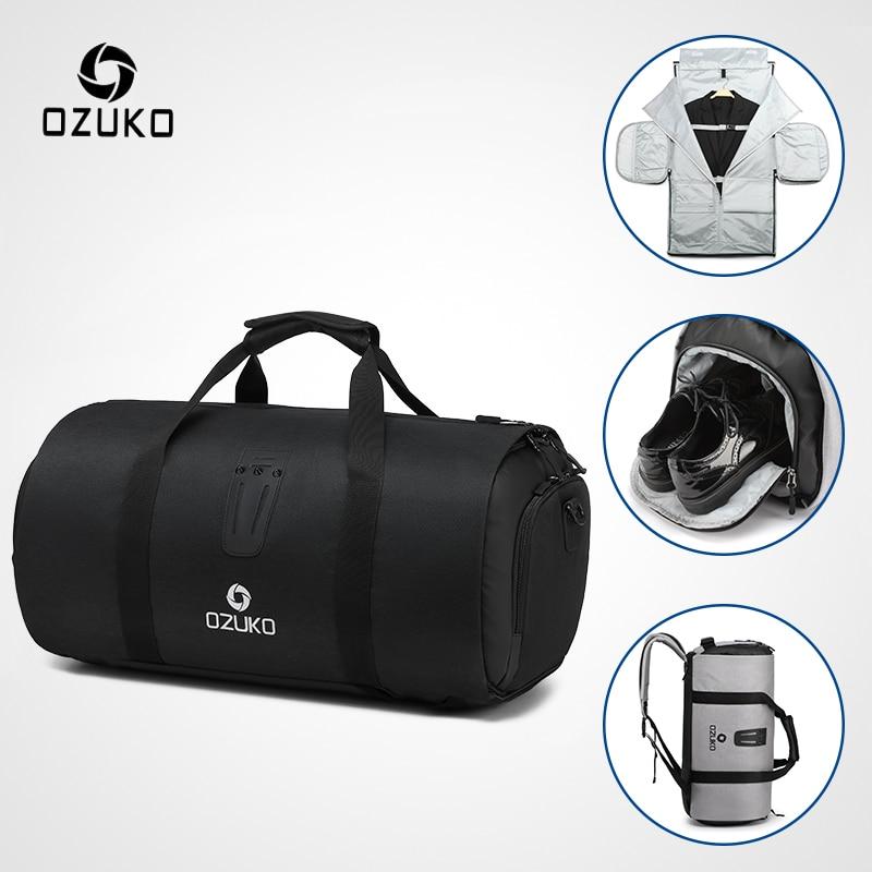 Ozuko multifunction grande capacidade saco de viagem dos homens à prova dwaterproof água duffle saco para viagem terno de armazenamento sacos de bagagem de mão com bolsa de sapato