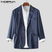 Men Striped Blazer Long Sleeve Lapel Coats Streetwear One Buckle Suits Fashion Elegant Clothes Business Brand Blazer 3XL INCERUN