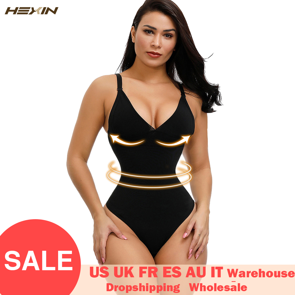 HEXIN Woman Deep V Bodysuit Strap Body Shaper Backless Thong  Seamless Shapewear Push Up Waist Trainer Slimming Corset