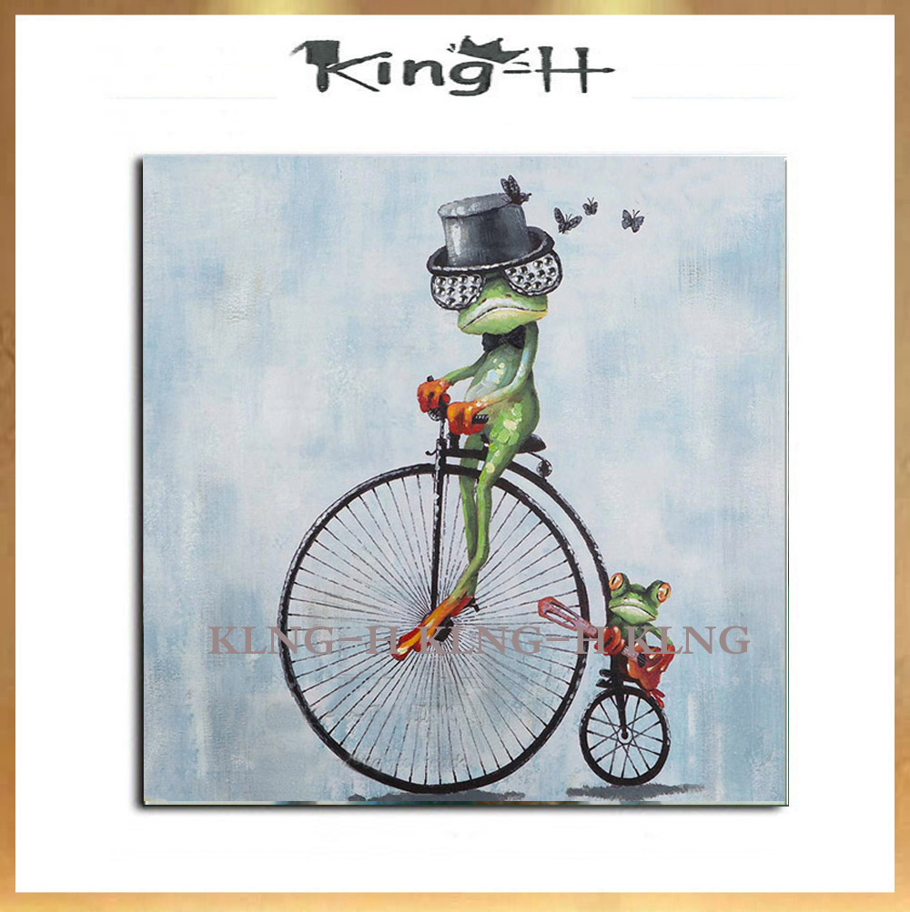 Hand-painted oil painting to ride a bicycle frog animal interesting high quality professional actor children room is decorated w image