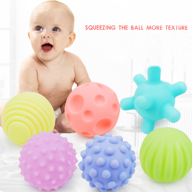 6pcs Textured Multi Ball Set Soft Develop Baby Tactile Senses Toy Baby Touch Hand Training Massage Ball Rattle Activity Toys