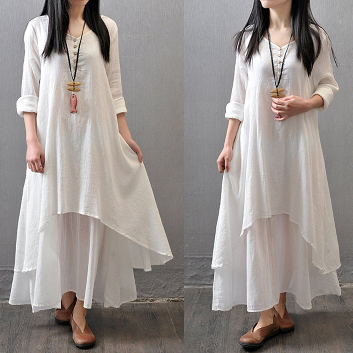 Весна Boho женское V Nekc крестьянское этническое хлопковое льняное Повседневное платье макси с длинными рукавами на пуговицах Несимметричное длинное платье хит