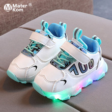 Size 21-30 Baby Breathable Glowing Shoes Luminous Sneakers for Girls Kids Anti-slippery Sneakers Boys Led Light Up Casual Shoes cheap Mater Kom 13-24m 25-36m CN(Origin) Four Seasons Lighted unisex LED Shoes Fits true to size take your normal size Hook Loop
