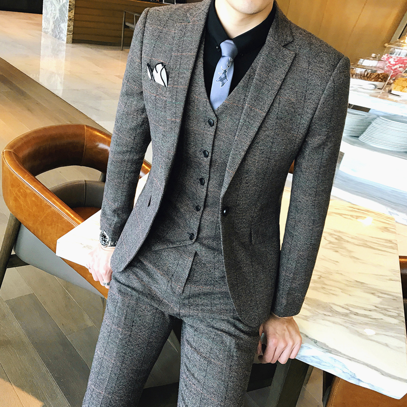 Lattice Mans Suit High Quality Slim Fit Plaid Suits Mens Vintge Terno Masculino Traje Hombre Formal Prom Tuxedos 2020