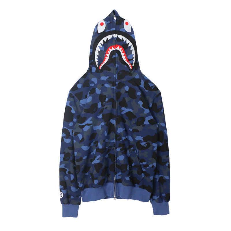 Japanese Shark Camouflage Print Zipper Sweatshirts Women Spring Thin Female Loose Hoodies Harajuku Casual Zipper Couple Coats