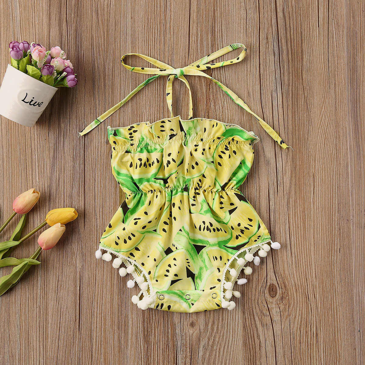 Pasgeboren Baby Baby Meisjes Zomer Katoen Casual Watermeloen Print Jumpsuit Bodysuit Rood Geel Outfits 0-24M