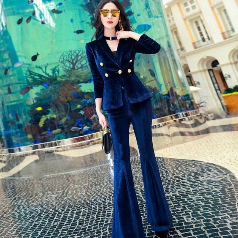Autumn Winter New Female Professional Office Lady Sets Luxury Womens Velvet Jacket Lapel Suit Coat+Trumpet Pants 2 Pieces Women