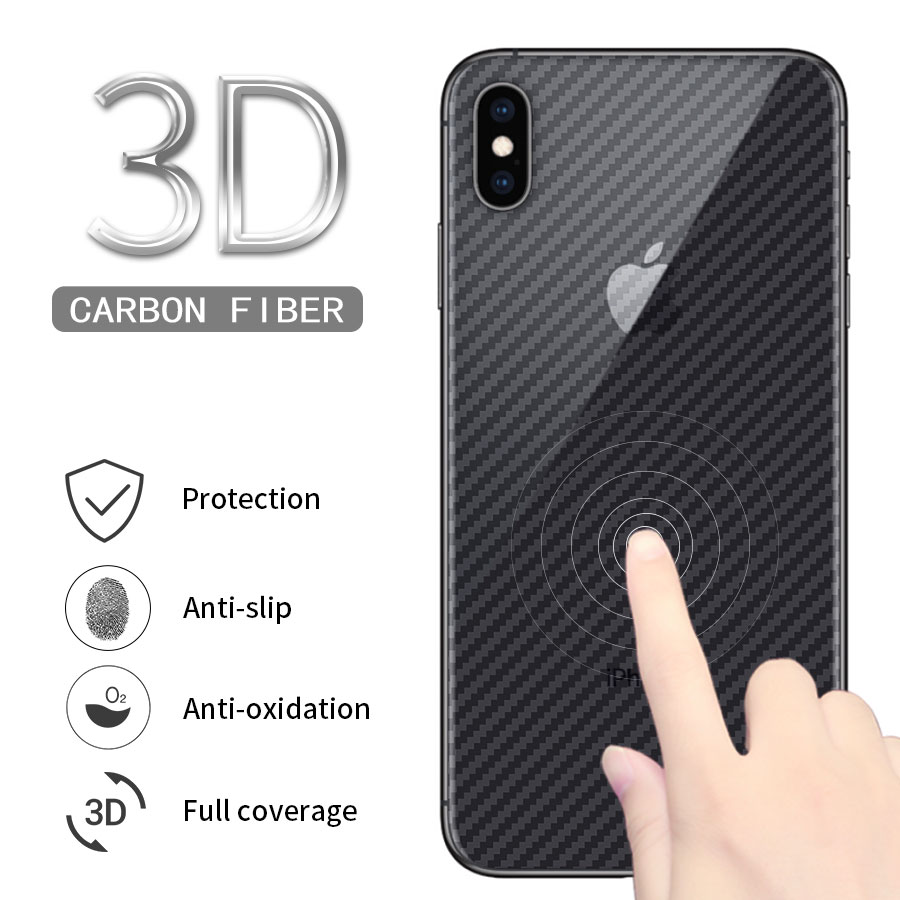 3D Back Carbon Fiber Full Cover Screen Protector For IPhone 11 Pro Max X XS XR 8 7 6 6s Plus 5 5s SE Back Cover Protective Film