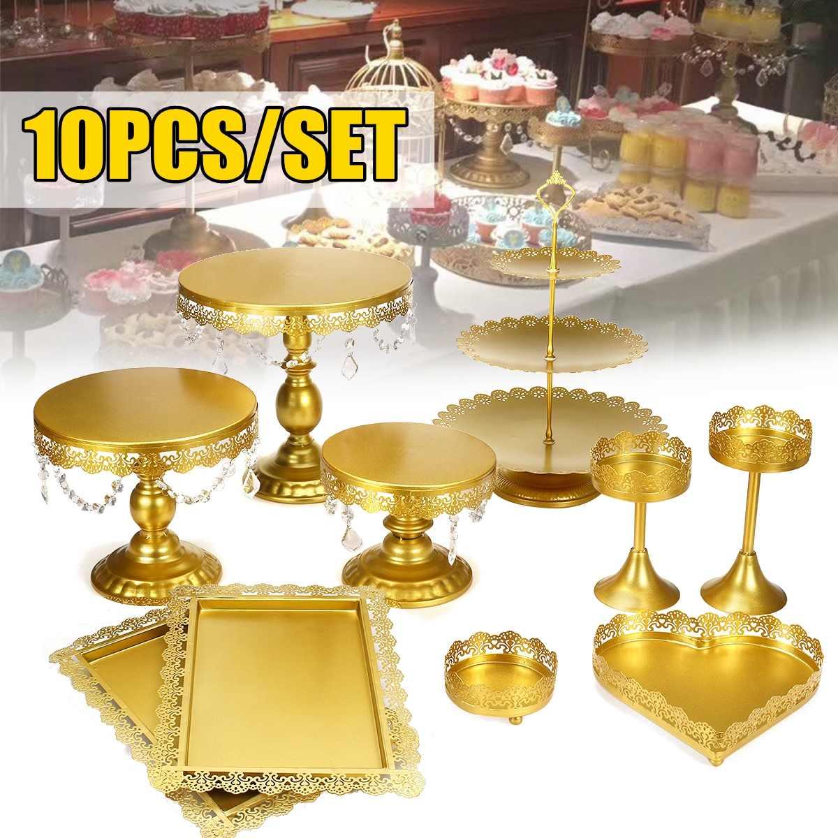 10 pièces or métal Cupcake support de gâteau Dessert support ensemble de mariage événement fête affichage tour plaque avec bijoux pendentif Floral Borde