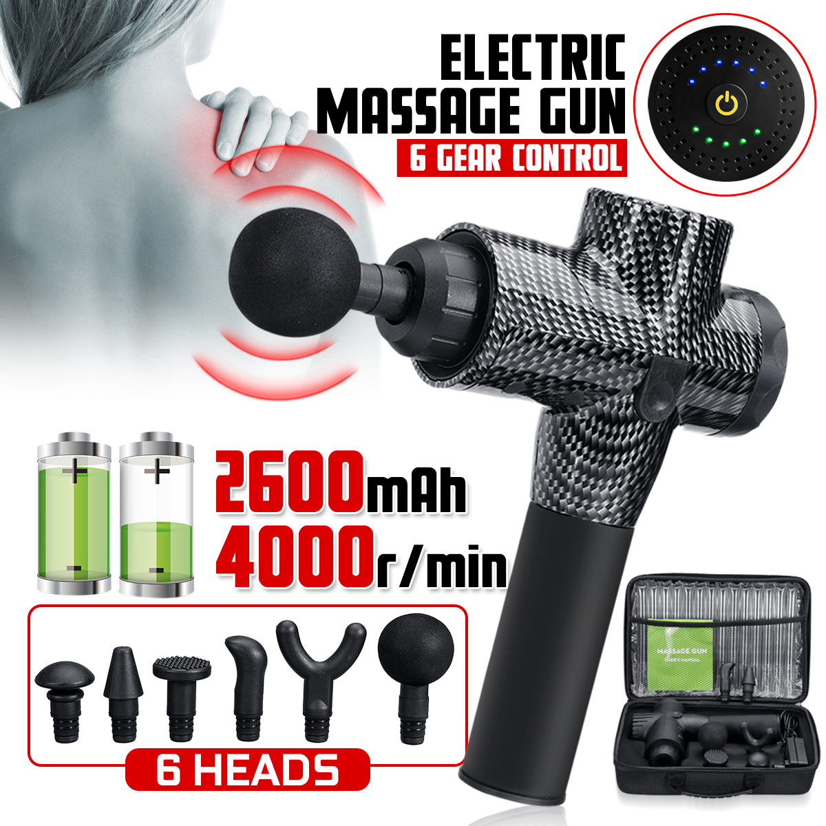 4000r/min LED Indicator Massage Guns 5 Gears Muscle Massager Pain Sport Massage Machine Relax Body Slimming Relief 6 Heads