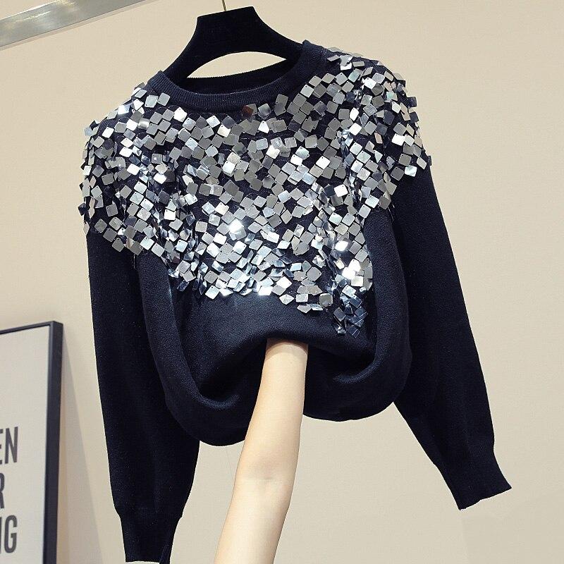 Paillettes couture pulls femmes 2019 automne nouveau lâche mode Joker noir pull à manches longues chandail femme dame chandails top