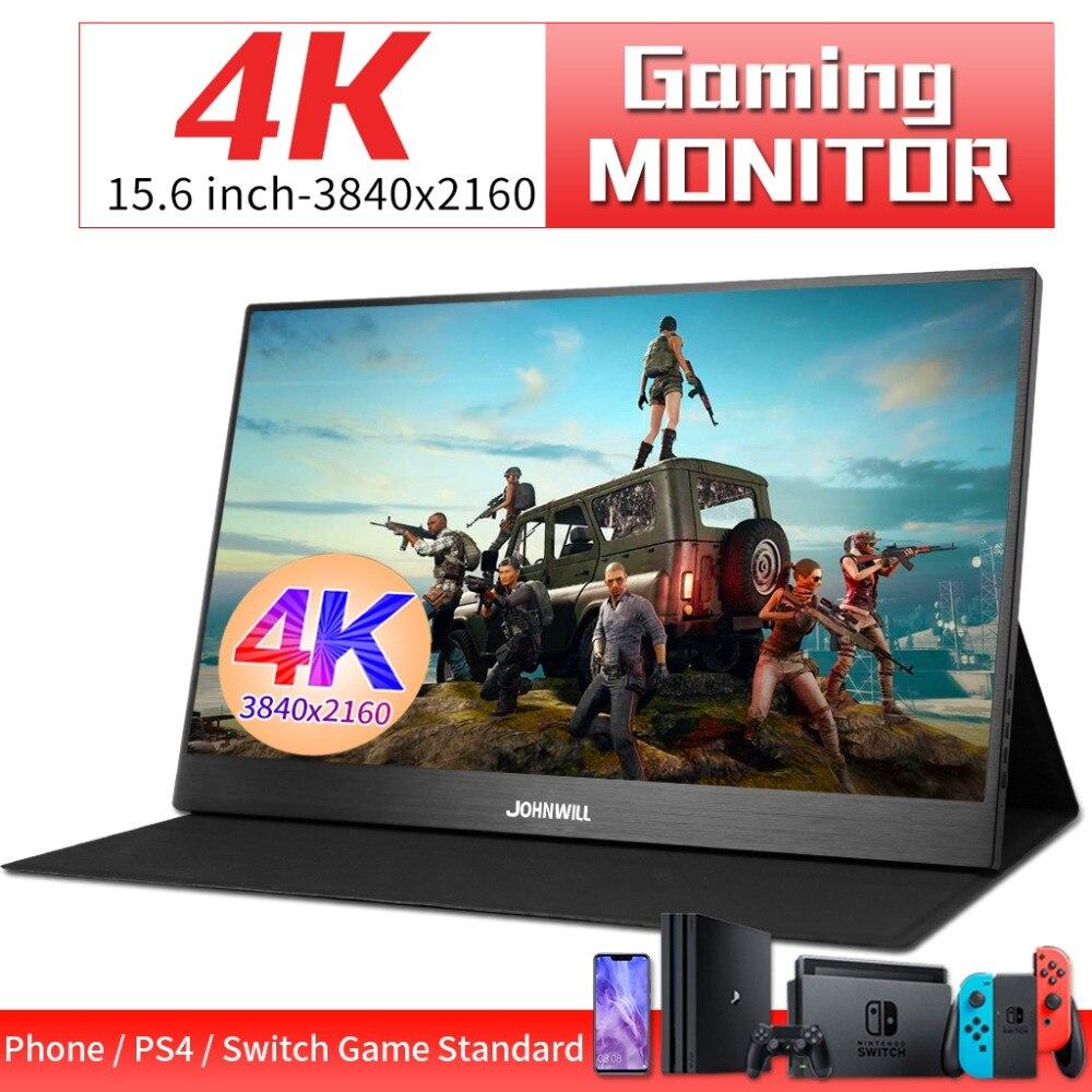 Przenośny monitor 15.6 cala 4K 3840X2160 IPS LCD HDMI type-c monitor gamingowy wideo dla PS4 XBOX przełącznik TV DVD Box