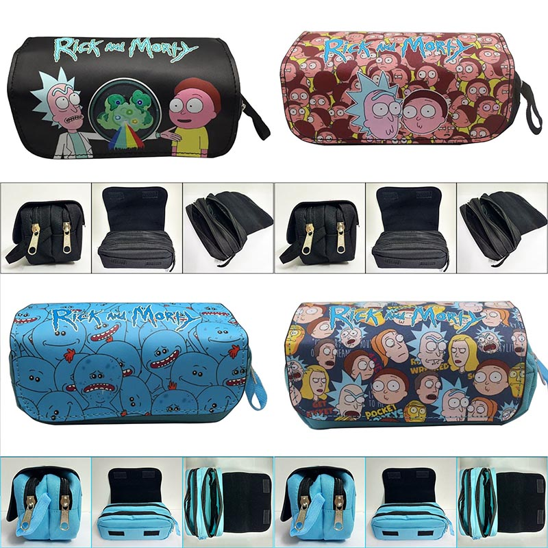 Casual Leather Pencil Case Hot Cartoon Rick And Morty  Pen Pencil Holder Bags Dollar Price Boy Girl Double Zipper Cosmetic Bags