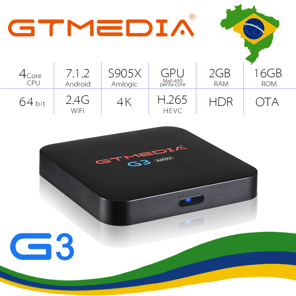 GTMEDIA G3 Android 7.1 Smart Tv Box Media Player 2G 16G+Remote Control 7000+channles Built-in Wifi 4K H.265 From Brazil IPTV Box