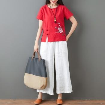 Panie chiński topy kobiety 2020 lato tradycyjna chińska odzież haftować rocznika T Shirt chiński styl odzież kobiety 11794 tanie i dobre opinie Tangslady COTTON Linen CN (pochodzenie) WOMEN Suknem