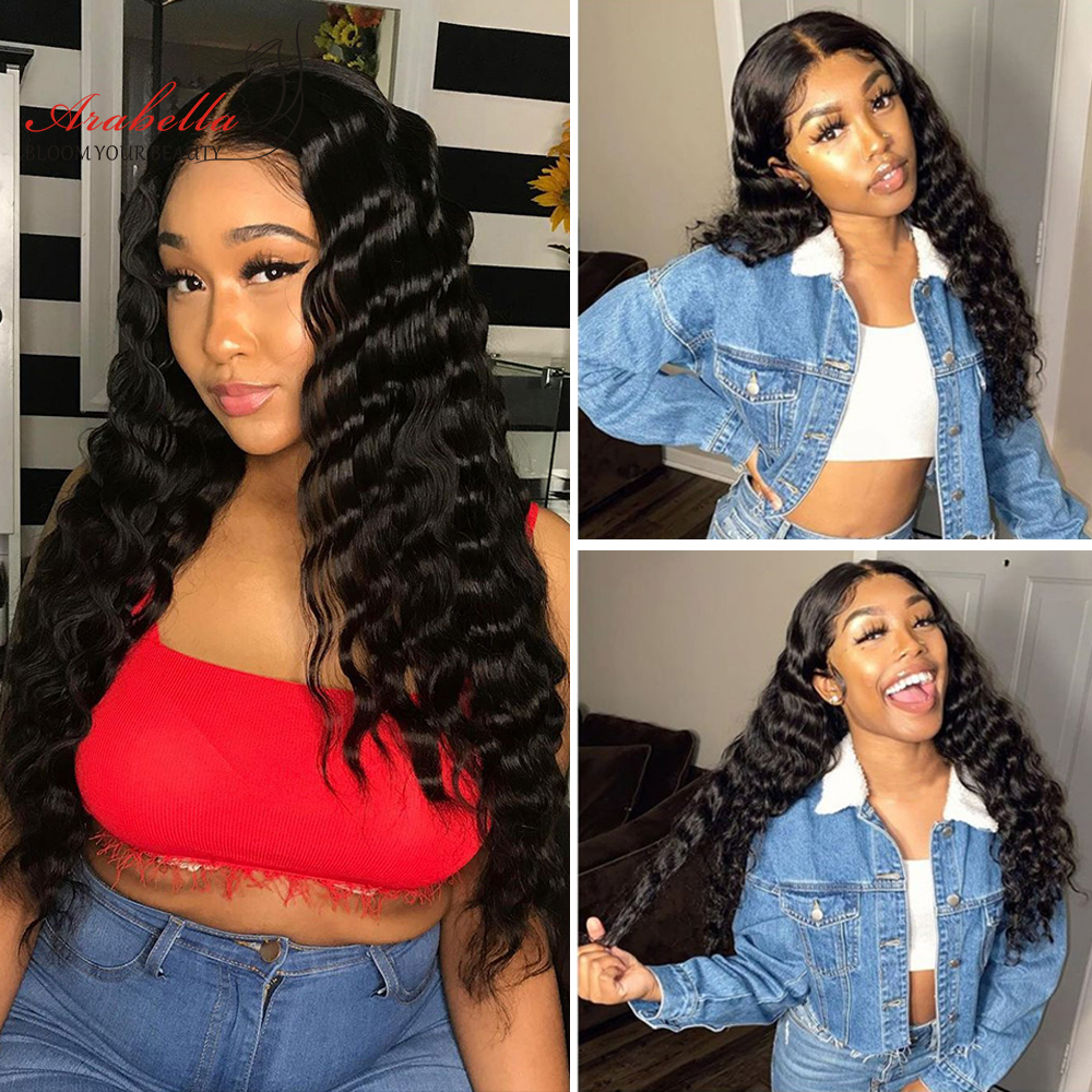 Loose Deep Wave Lace Front Wig 100%  Wigs Arabella  Hair Lace Frontal Wig Pre Plucked Lace Deep Curly Closure Wig 4
