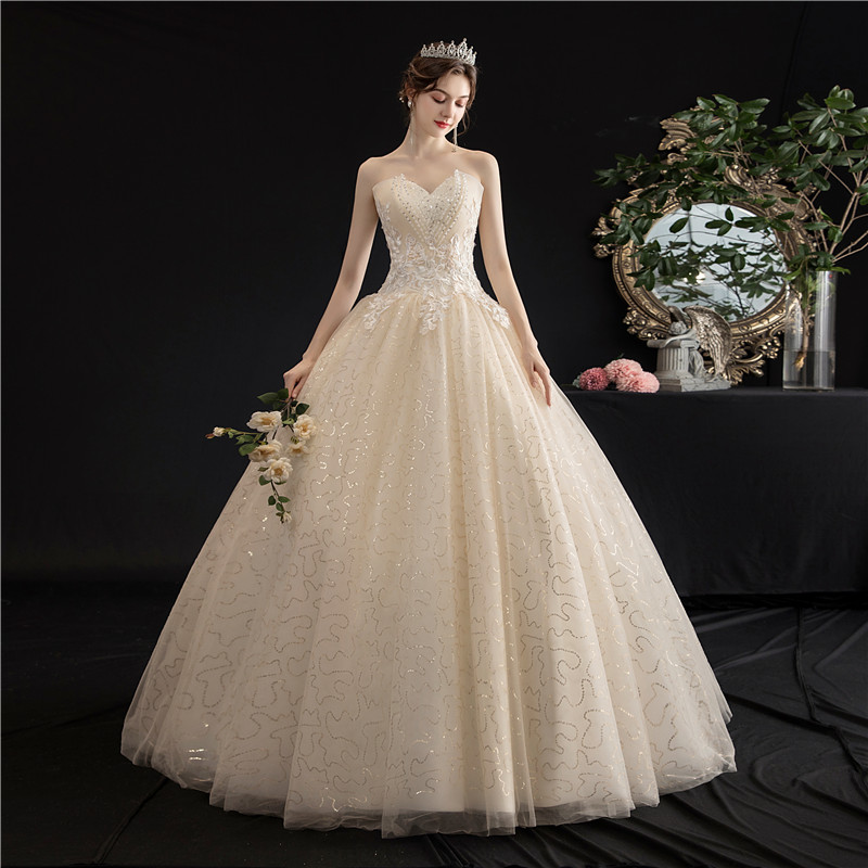 Mrs Win Strapless Wedding Dress 2020 New Champagne Lace Up Ball Gown Princess Vintage Lace Embroidery Wedding Dresses H103