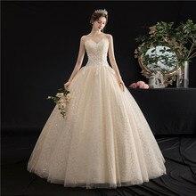 Mrs Win vestido de novia sin tirantes, novedad del 2020 en vestidos de baile de encaje champán, vestidos de princesa Encaje Vintage, vestidos de boda bordados H103
