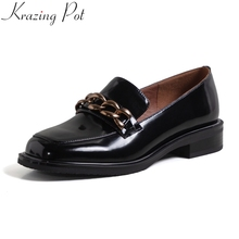 Krazing Pot 2021 Nieuwe Lederen Vierkante Teen Lage Hak Lente Shoeschain Vintage Loafers Office Lady Dating Vrouwen Pompen L10
