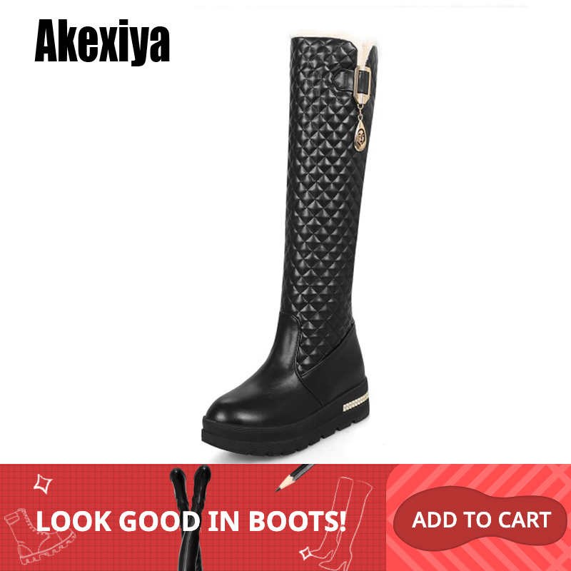 2019 New Women Boots Knee High Boots Square Heels Fashion Round Toe Rubber Sole Woman Leather Shoes Winter Black