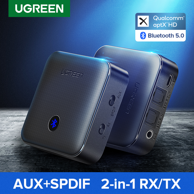 Ugreen Bluetooth 5.0 Receiver Transmitter 4.2 aptX HD CSR8675 for TV Headphone Optical 3.5mm SPDIF Bluetooth AUX Audio Adapter(China)