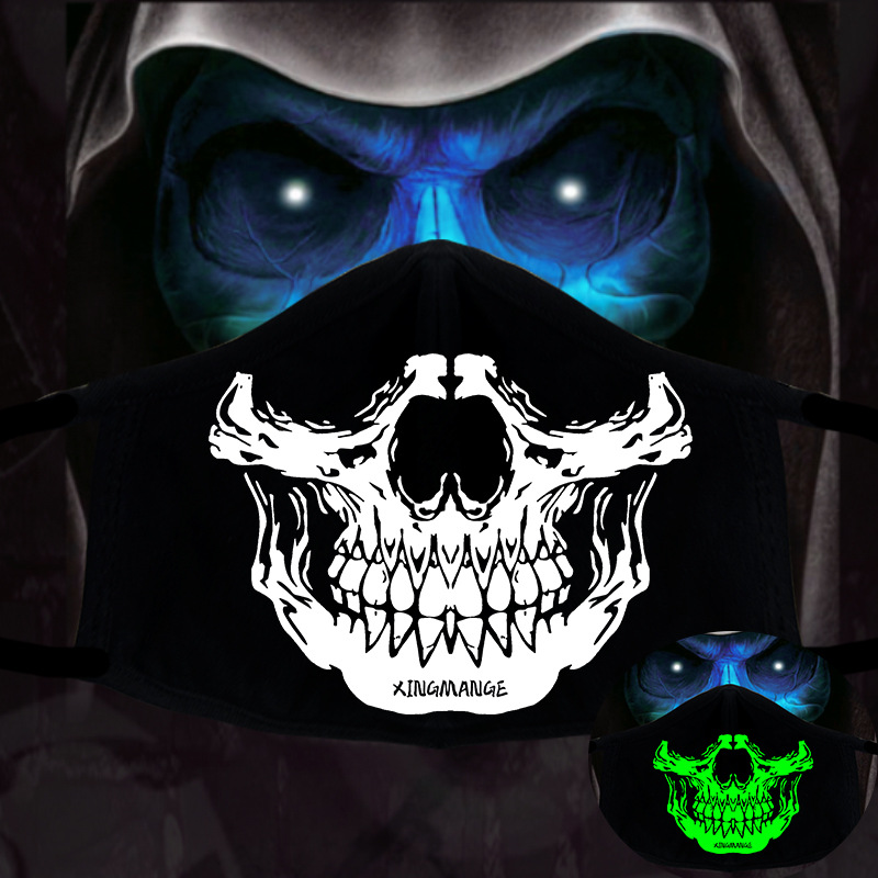 Unisex Glow In Dark Skull Scarey Masks Black Mouth Face Mask Half Face Masquerade Cosplay Costume Mask DIY Party Decorations