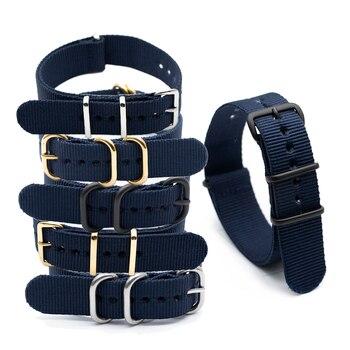 Deportes correa de reloj accesorios para 18mm 20mm 22mm 24mm estilo NATO Ejército Azul Marino Nylon reloj Correa tela cinturón de repuesto