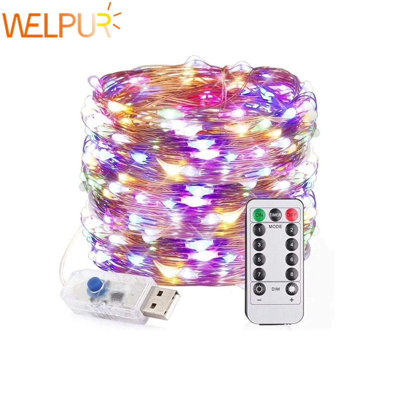 String Lights Christmas Fairy Lights USB With 13 Key Remote 33ft 100 LED Waterproof Decorative Copper Wire Lights Festival Party