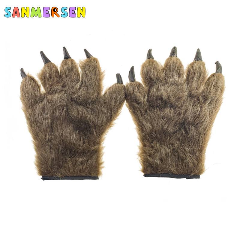 Halloween Bear Gloves Animal Gloves Paw Role Playing Accessories Cute Cat Kitten Paw Claw Warm Gloves Children's Birthday Gifts