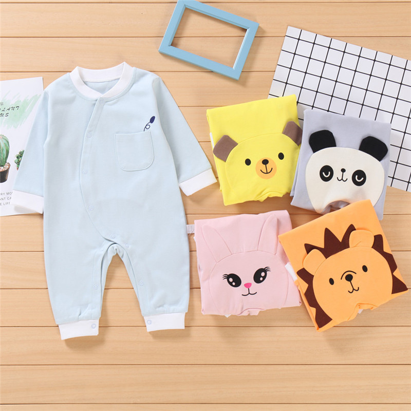 20 Infant Jumpsuit Pure Cotton Air-conditioned Room Pajamas Long Sleeve Spring And Autumn Nursing Crawling Clothes Infant Baby B