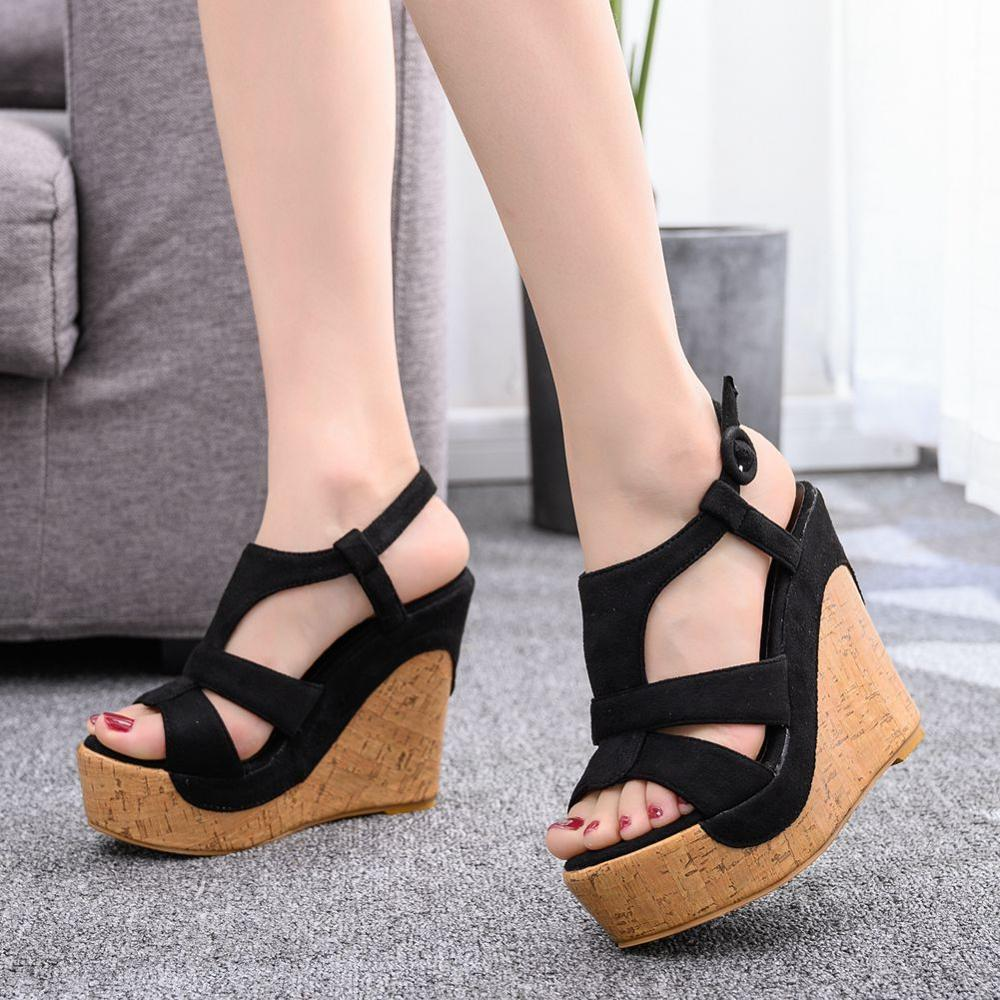 <font><b>12</b></font> <font><b>Cm</b></font> Wood Grain Waterproof Platform Wedges Fish Mouth <font><b>Sandals</b></font> Retro Roman Women's <font><b>Sandals</b></font> Sweet High Heels Sexy Womens Shoes image