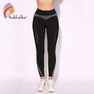 Image 5 - Andzhelika High Quality Mesh Running Sport Tights Women Mention Hip Gym Yoga Capri Pants Tummy Control Fitness Athletic Leggings