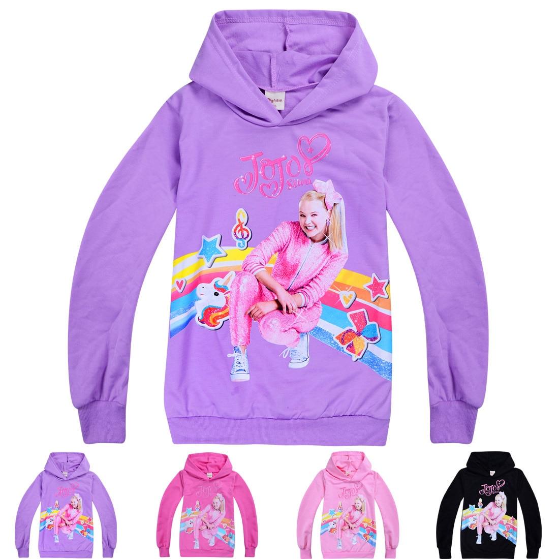 Jojo Siwa Kids Girls Hoodies Casual Cartoon SweatShirt Tops Hoodie Shirt Clothes