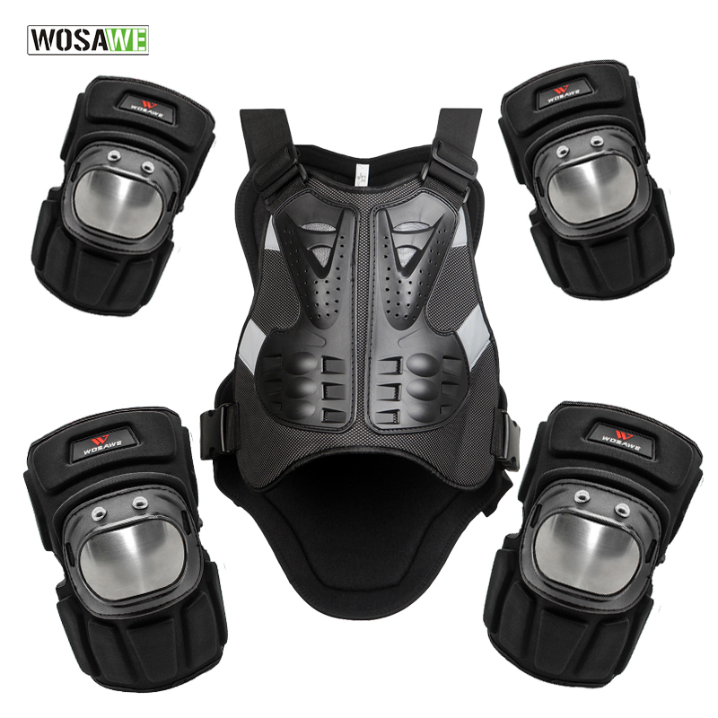 WOSAWE Snowboarding Jacket Vest Motorcycle Chest Elbow Knee Protection Riding Motocross Racing Vest And Knee Elbow Pads