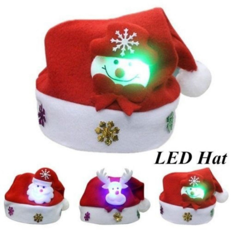 Kids Christmas Red Hats For Adult And Kids LED Caps For Christmas (Snowman,ElK,Santa Claus)
