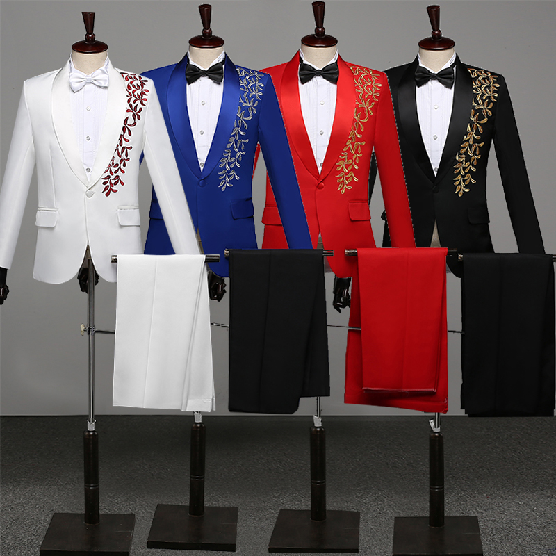 Men's Formal Suit Stage Performance Dress Costumes Wedding Suits Host Men Singer Embroidery Blazer Pants Stage Costumes DT1471