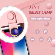 3 In 1 Universal Selfie Fill Light Beauty Lens Selfie LED Ring Flash Lamp with Wide Angle Macro Lens 36 LEDs for Mobile Phone