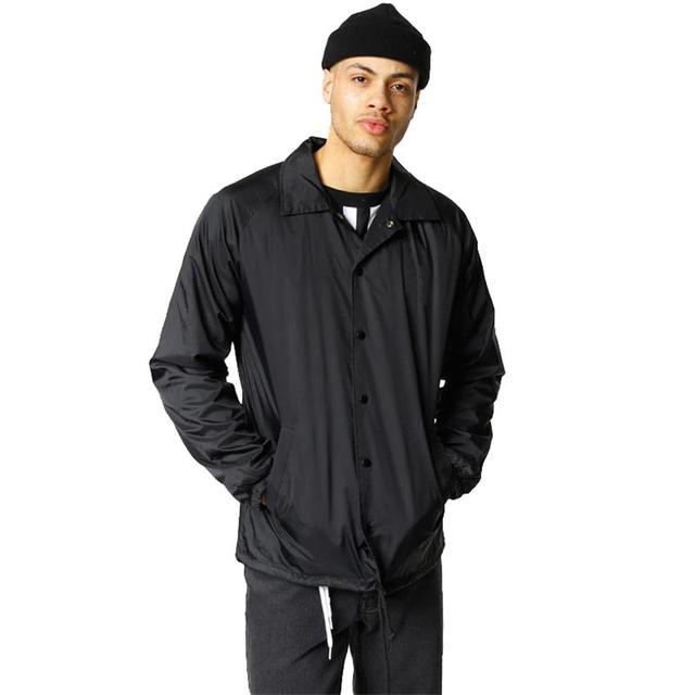 Nylon jaqueta de hip hop streetwear preto liso treinador blusão leve à prova d água para os homens do vintage