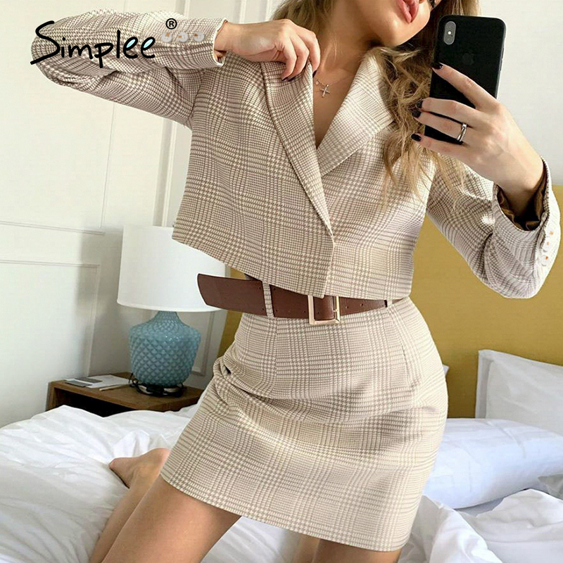 Simplee  Two-piece Casual Plaid Women Dress Elegant Long Sleeve Button Skirt Suits A-line Notched Office Lady Autumnn Suits 2020