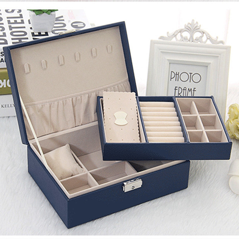 Exquisite Jewelry Box Fabric With Lock Factory Direct Korean Leather Jewelry Storage Box Necklace Earrings Finishing Casket