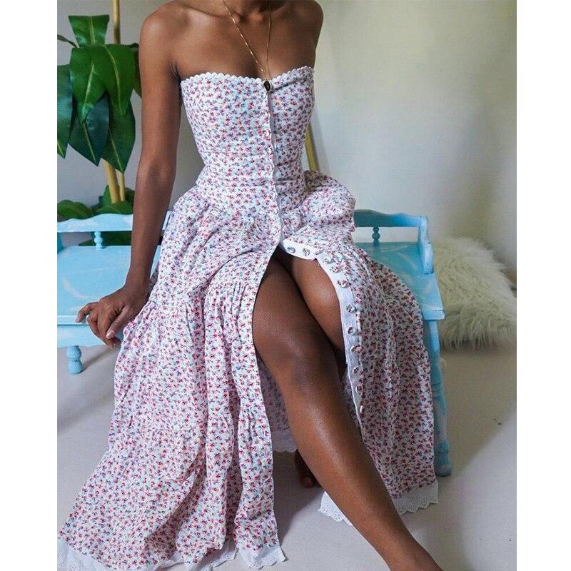 Женское сексуальное платье без бретелек с высокой талией и цветочным принтом элегантное платье бандо с кружевной отделкой на пуговицах элегантное модное шикарное платье 2020 Платья      АлиЭкспресс