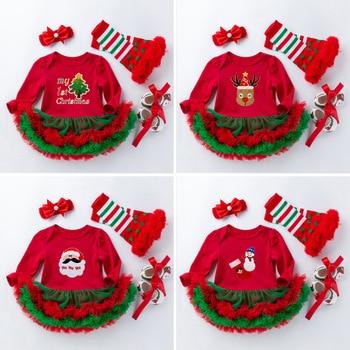 Baby Girl Dress Set My First Christmas Costume Tutu Dresses NewbornToddler Girls Outfits 4pcs Red Romper Shoes Headband Socks недорого