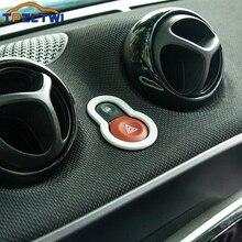 Interior do carro luz de advertência interruptor da lâmpada botão aviso guarnição capa etiqueta para mercedes smart fortwo forfour 453 acessórios do carro